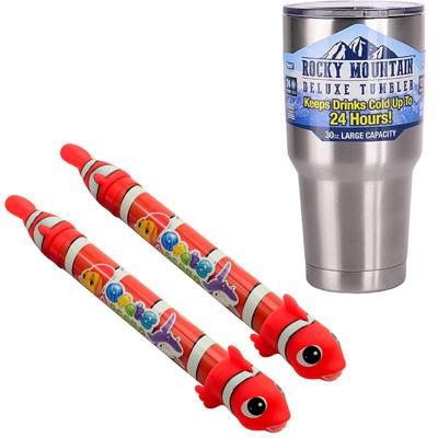 《夏日戲水組》小丑魚造型伸縮管抽水式水槍2入+冰霸杯組