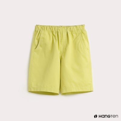 Hang Ten-童裝素面腰部鬆緊百慕達褲-綠
