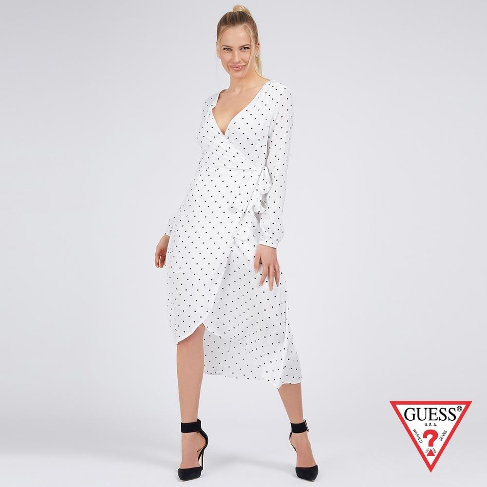 GUESS-女裝-性感V領點點綁帶洋裝-白 原價2790