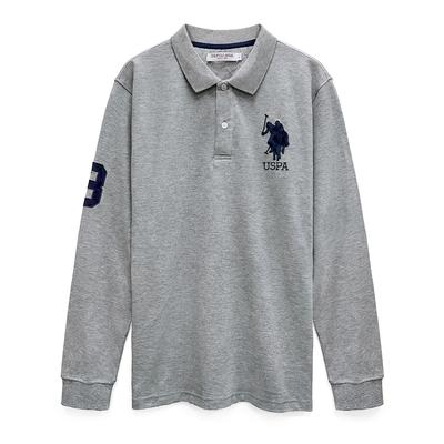 U.S. POLO ASSN. 經典大馬長袖POLO衫-灰色