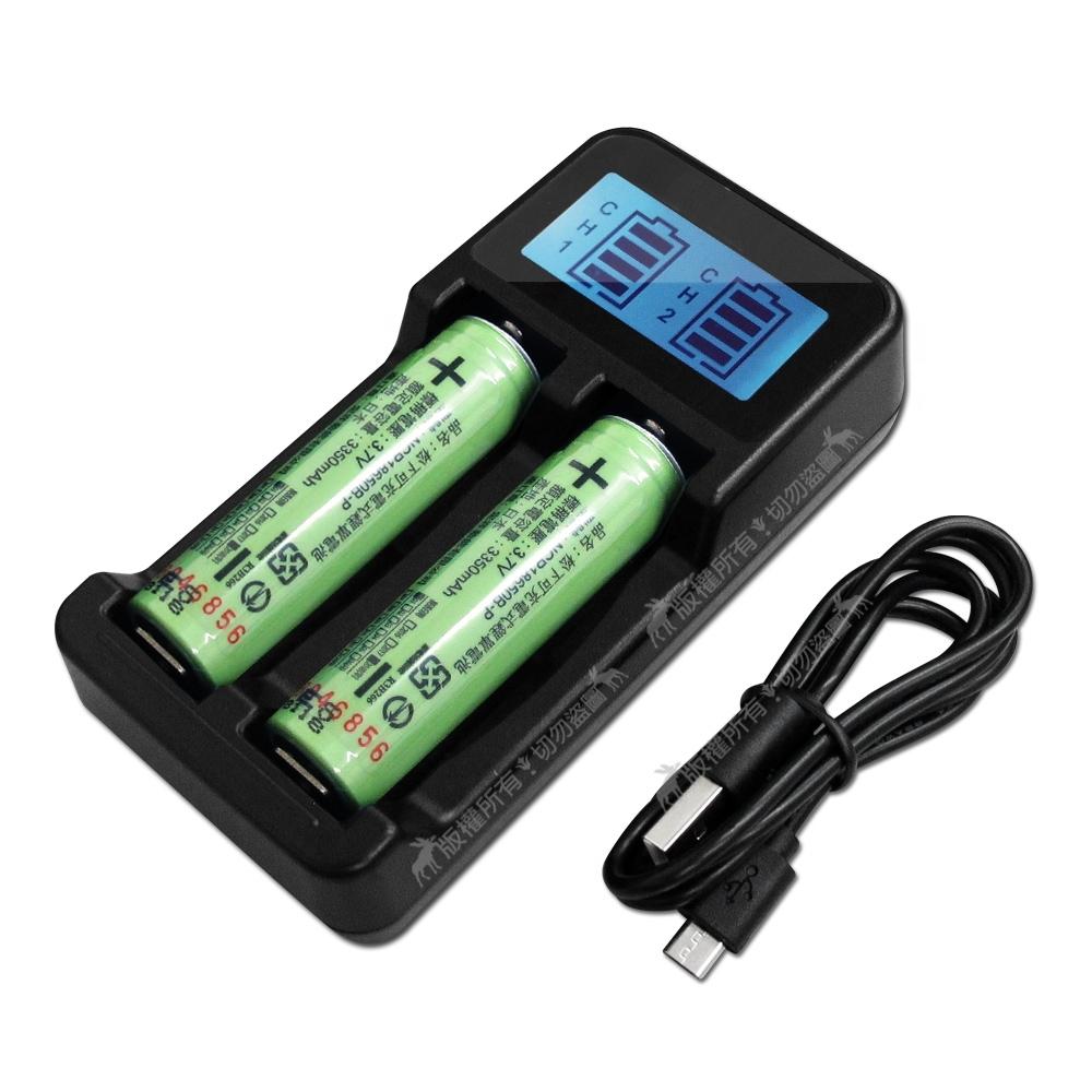 日本松下 NCR18650B 3350mAh認證版凸頭鋰電池2入+LCD液晶雙槽充電器