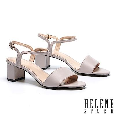 涼鞋 HELENE SPARK 簡約一字造型細帶全真皮粗高跟涼鞋-米