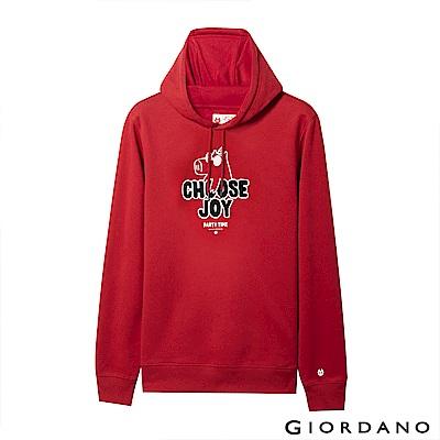 GIORDANO 男裝派對豬系列印花刷毛帽TEE-01 新冠軍紅