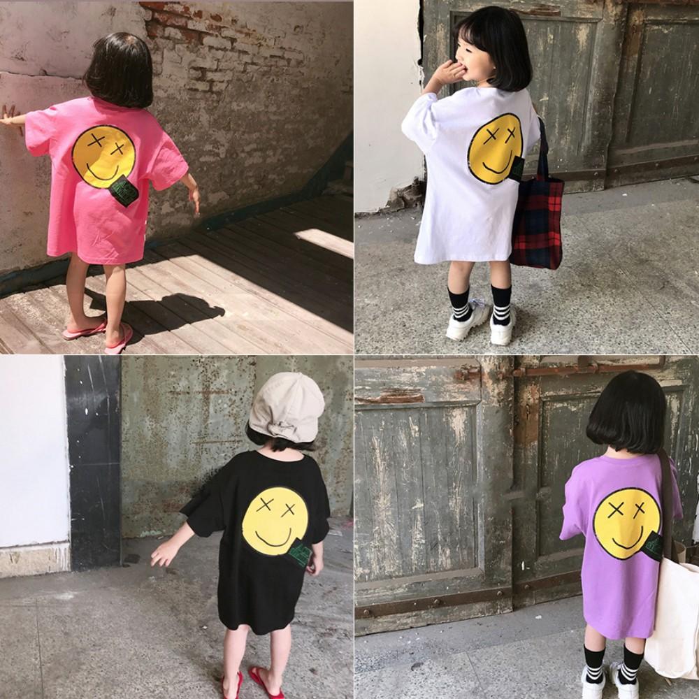 小衣衫童裝  兒童笑臉印花寬大版短袖舒適棉T1080406