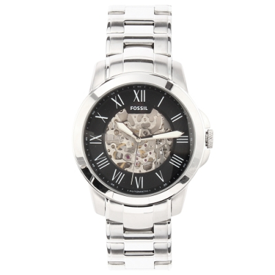 FOSSIL 鏤空圓弧鏡面機械鋼帶腕錶(ME3103)