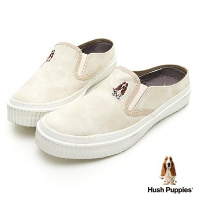 Hush Puppies 咖啡紗穆勒休閒鞋-杏色