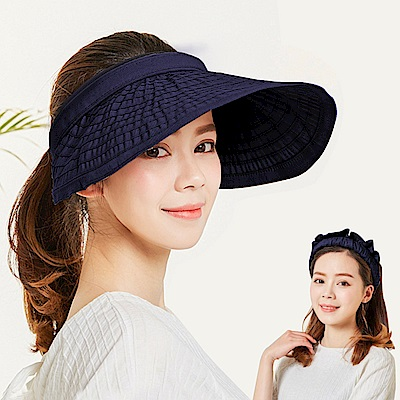 幸福揚邑 防曬抗UV髮圈大帽檐顯瘦可折疊空頂遮陽帽-藍