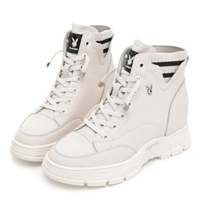 PLAYBOY 內增高 時尚真皮襪靴-白-Y727011