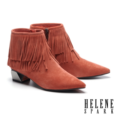 短靴 HELENE SPARK 率性時髦流蘇牛麂皮尖頭低跟短靴-棕