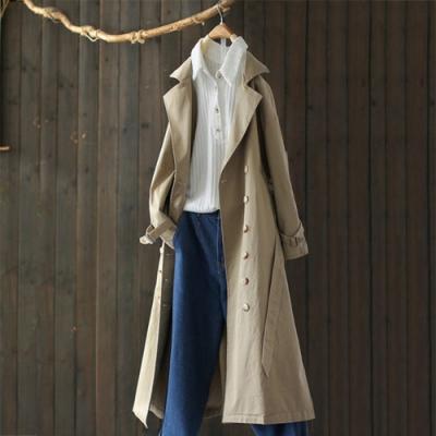 沉穩大氣單色繫帶雙排扣風衣寬鬆長版外套-設計所在