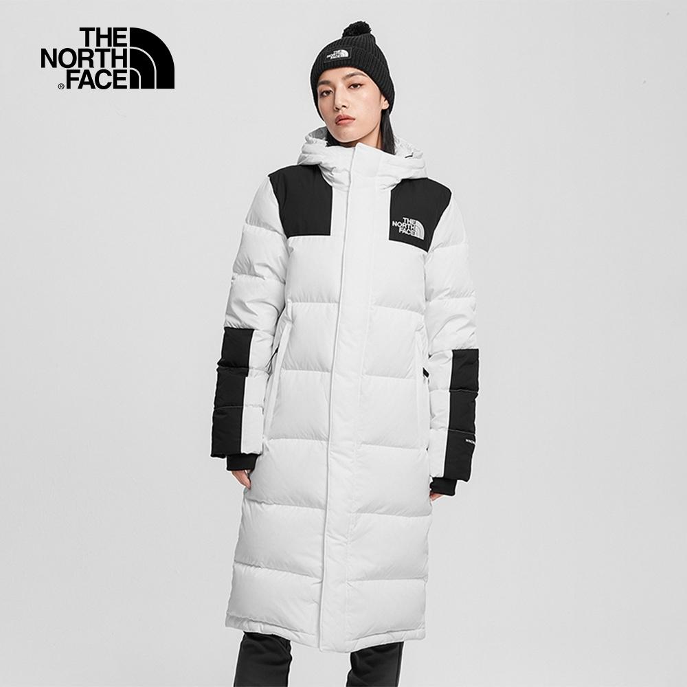 The North Face北面男女款白色防風防潑水長版羽絨外套 4NEMFN4