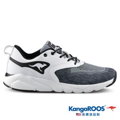KangaROOS 美國袋鼠鞋 男 RUN SPRINT 超輕量跑鞋/慢跑鞋/休閒鞋/運動鞋(白/黑-KM11008)
