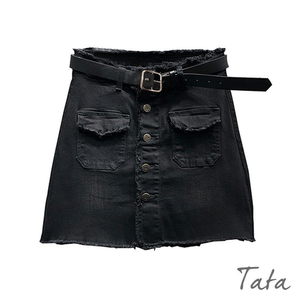 黑色抽鬚排扣牛仔褲裙(附腰帶) TATA