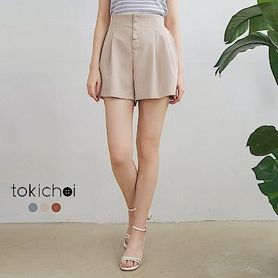 東京著衣 質感舒適排扣後鬆緊打褶短褲-S.M.L(共三色)