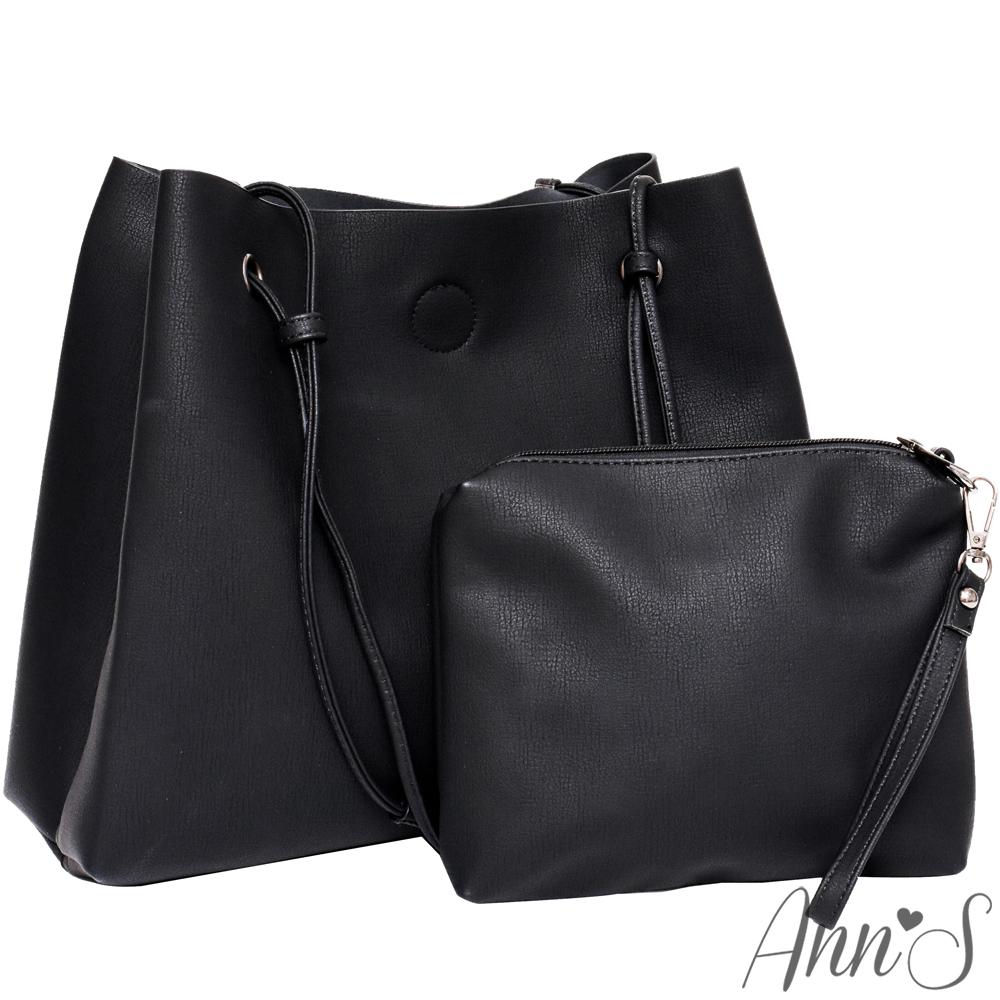 Ann'S訂製雲彩皮革肩背大容量托特包-黑(附手拿包)