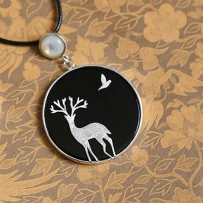東方美學黑瑪瑙麋鹿鳥兒進口蠟繩純銀項鍊-設計所在
