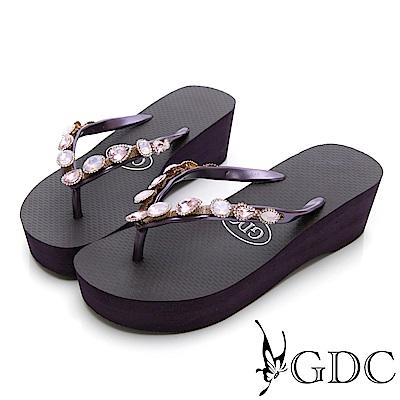 GDC-夏天海灘逛街必備水鑽微厚底夾腳拖鞋-紫色