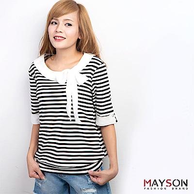 【MAYSON】清晰俏麗-超質感筆挺修飾重磅彈力棉前綁蝴蝶結設計款上衣(共二色)
