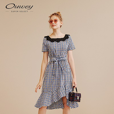 OUWEY歐薇 蕾絲拼接格紋洋裝(藍)