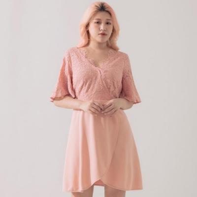 AIR SPACE PLUS 氣質交叉蕾絲洋裝(粉紅)