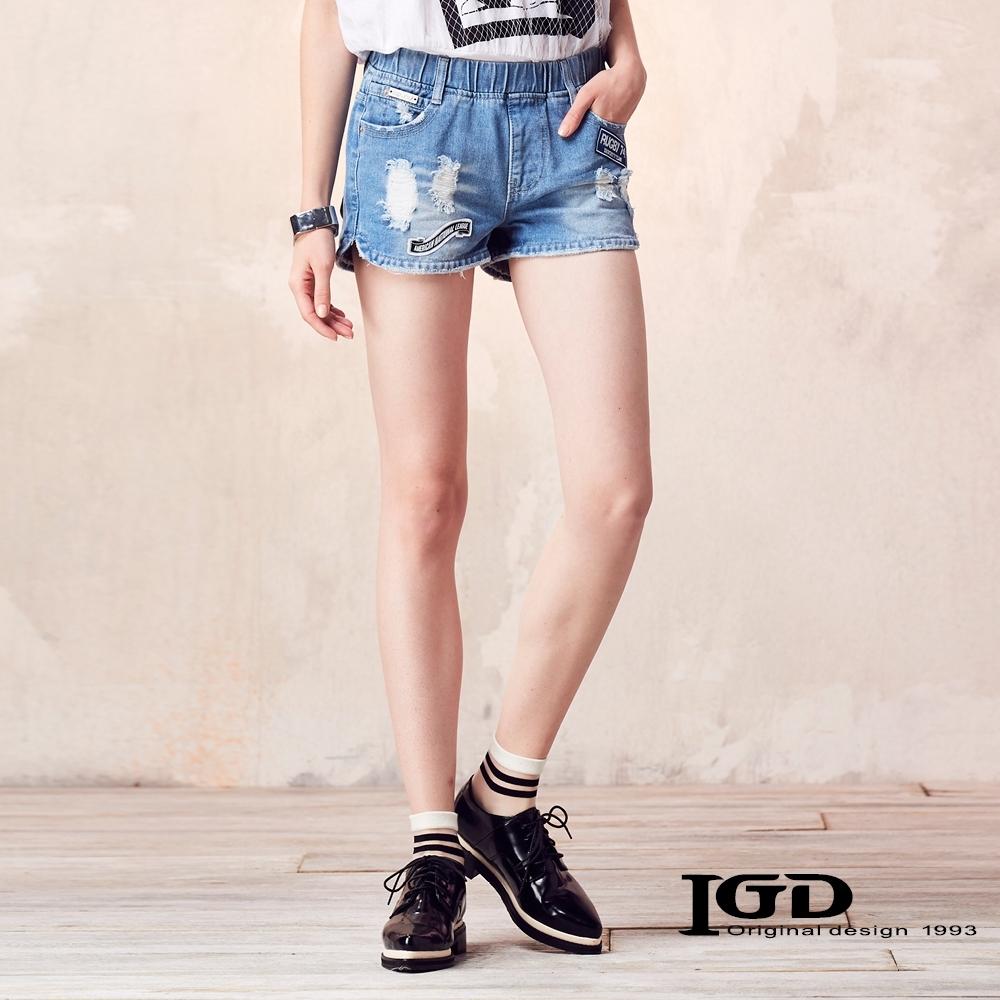 IGD英格麗 破壞貼章鬆緊短褲-牛仔藍