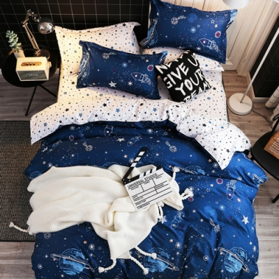 Grace Life 太空漫遊 加大柔絲絨涼被床包四件組