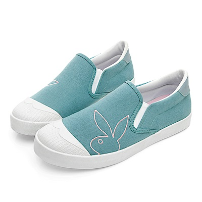 PLAYBOY 清新電繡兔頭懶人鞋-淺藍-Y5708I9
