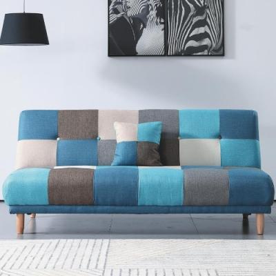 文創集 茉莉 時尚格紋棉麻布機能沙發/沙發床(展開分段式沙發/沙發床二用設計)-182x105x40cm免組