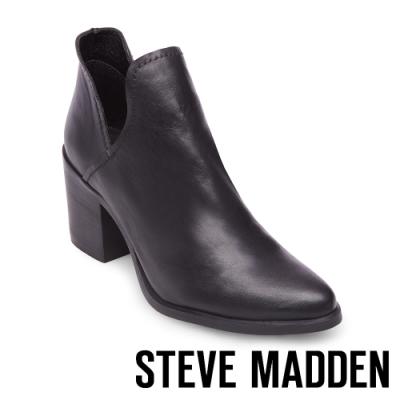 STEVE MADDEN-POSTAL俐落美型側V鏤空尖頭粗跟短靴-黑色