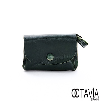OCTAVIA8 真皮 - 喜歡你 信封式雙置物袋植染牛皮小錢包  - 復古綠