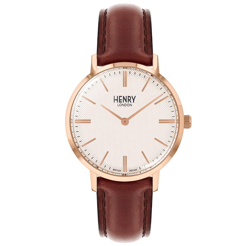 Henry London 英式簡約真皮手錶-米X玫瑰金框/34mm
