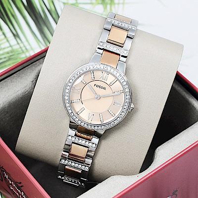 FOSSIL 美國精品手錶VIRGINIA 晶鑽時尚金屬手錶腕錶 銀x玫瑰金30mm
