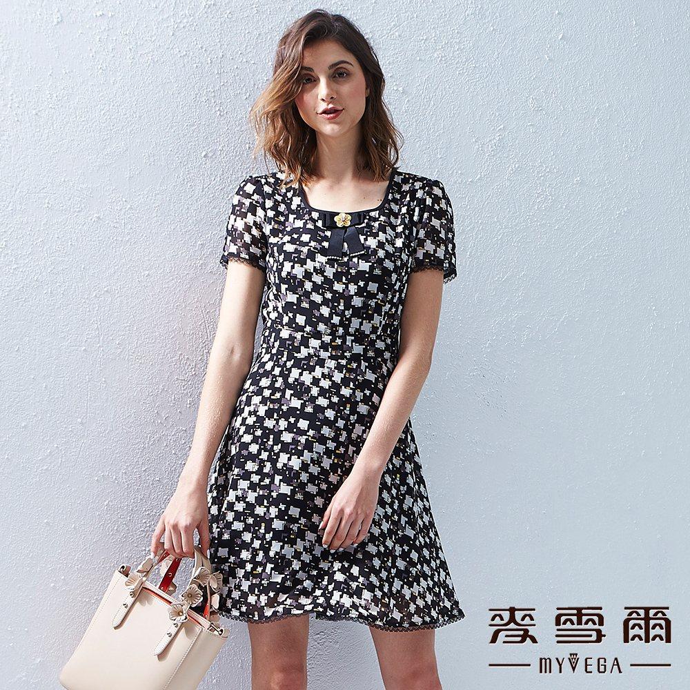 【麥雪爾】幾何藝術方塊雪紡洋裝 @ Y!購物