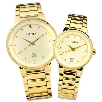 CITIZEN 晶鑽刻度設計日期視窗對錶-鍍金/40mm+27mm