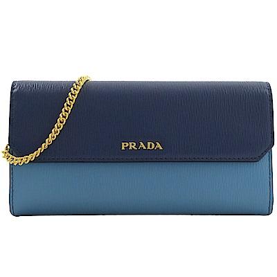 PRADA 金屬LOGO雙色水波紋斜背式長夾(藍)