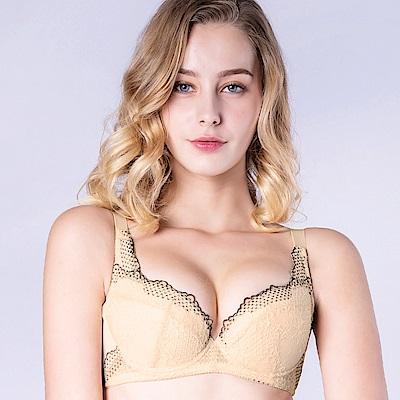 思薇爾 桐花漫舞系列B-F罩蕾絲包覆內衣(金赭色)