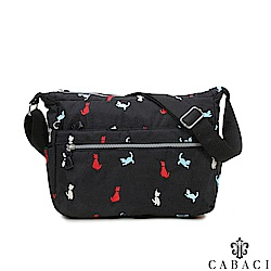 CABACI 淘氣小貓繡線多隔層斜背包-黑色