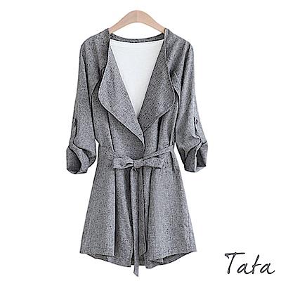 翻領繫腰長版外套 共二色 TATA