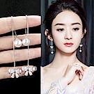 梨花HaNA 韓國925銀珍珠共舞蝴蝶結水晶耳線耳環