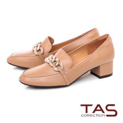 TAS雙色鍊條飾釦低跟鞋-迷人卡其