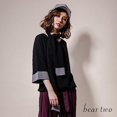 beartwo 典雅網格微透七分袖上衣(2色)