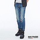 BIG TRAIN COOLMAX粗針復古刷色小直筒褲-男-中藍