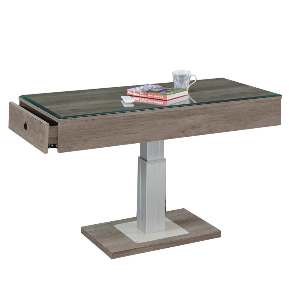 文創集 麥波4尺玻璃大茶几(附遙控器+桌面遙控電動可升降功能)-120x60x80cm免組