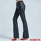 BOBSON 低腰伸縮中喇叭褲-黑色