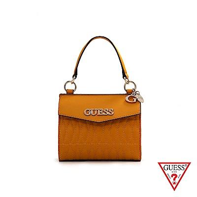 GUESS-女包-簡約菱形縫線皮革手提肩背包-薑黃 原價2490