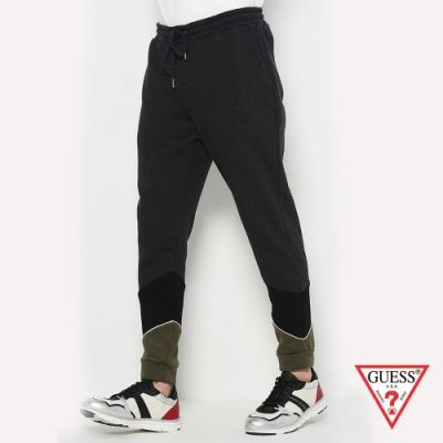 GUESS-男裝-個性拼接休閒棉褲-黑