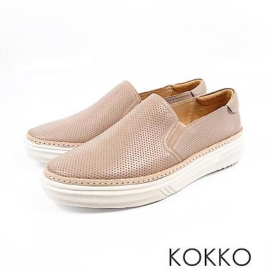 KOKKO -未知之境真皮厚底懶人鞋-奶茶裸