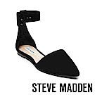 STEVE MADDEN-JUNIOR經典扣飾踝帶尖頭平底鞋-絨黑