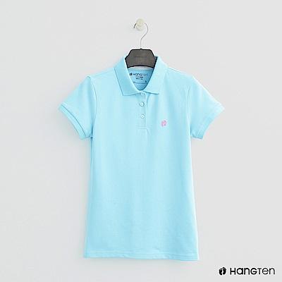 Hang Ten - 女裝 -簡約素面POLO杉 - 藍