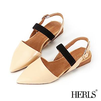 HERLS 都會摩登 全真皮亮面尖頭平底涼鞋-米色